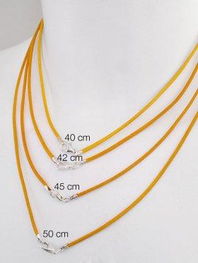 Leder gelb, ø 1,5, versch. Längen, Karabiner 925 Silber - VE 1 St. - L 40 cm