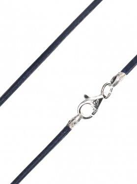 Leder königsblau, ø 1,5, Karabiner 925 Silber - VE 1 St. - L 38 cm