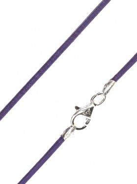 Leder violett, ø 1,5, Karabiner 925 Silber - VE 1 St. - L 38 cm