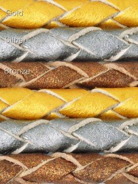 Leder geflochten Metallic Colours, Meterware