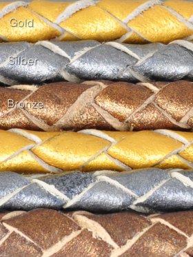Leder geflochten Metallic Colours, ø 4 mm, Länge 2 m - Metallic Bronze