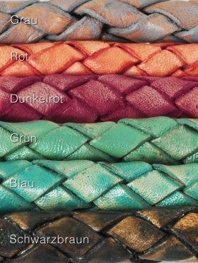 Leder geflochten in Washed Colours.