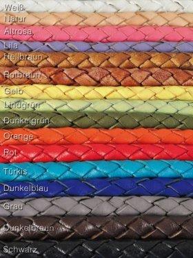 Leder geflochten ø 4 mm, 2 m, neue Farben erhältlich - Altrosa
