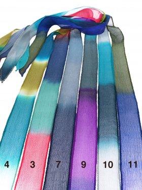 Chiffon-Seidenband Crinkle breit in Blau-Grüne Farbverläufe