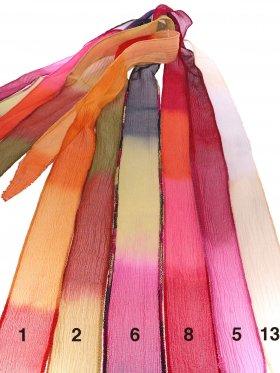 Chiffon-Seidenband Crinkle breit in Gelb-Rote Farbverläufe