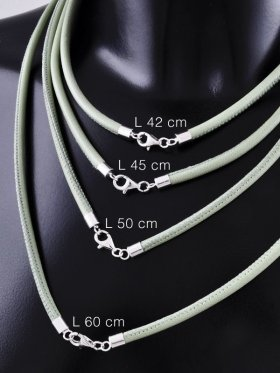 Nappaleder lindgrün mit Karabiner, ø 4, verschiedene Längen - VE 1 St. - L 60 cm