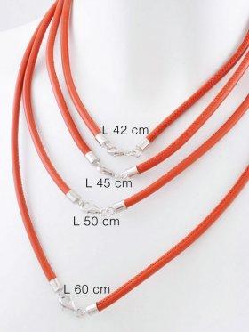 Nappaleder orange mit Karabiner, ø 4, verschiedene Längen - VE 1 St. - L 42 cm