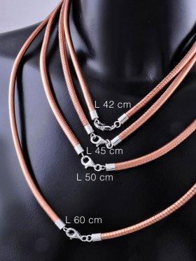Nappaleder-Collier Stärke 2,5 oder 4 mm, 925 Silber rhodiniert