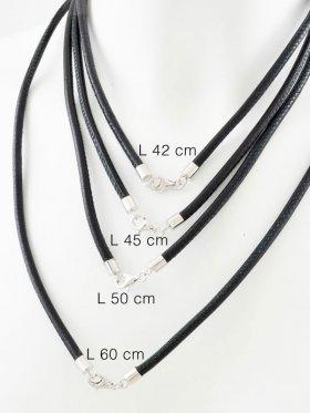 Nappaleder schwarz mit Karabiner, ø 4, verschiedene Längen - VE 1 St. - L 42 cm