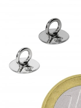 Ring mit Klebefläche, 925 Silber, rhodiniert