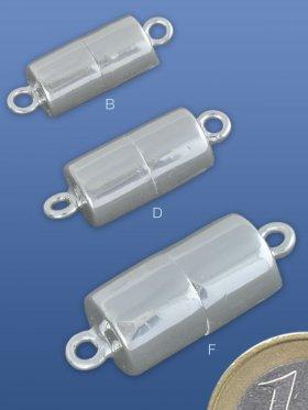 Magnetverschluss Zylinder mit Öse, 925 Silber