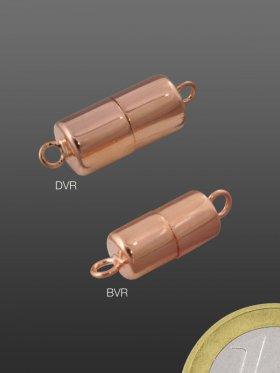 Magnetverschluss Zylinder mit Öse, verschiedene Größen, rosévergoldet, VE 1 St. - ø 6 / L 12 mm