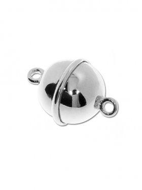 Magnetverschluss Kugel m. Rand ø 12, 925 Silber glänzend - VE 1 St.