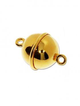 Magnetverschluss Kugel m. Rand, 925 vergoldet glänzend, ø 12 - VE 1 St.