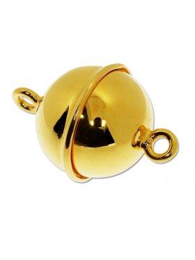 Magnetverschluss Kugel m. Rand, 925 vergoldet glänzend, ø 16 - VE 1 St.