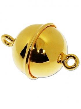 Magnetverschluss Kugel m. Rand, 925 vergoldet glänzend, ø 18 - VE 1 St.