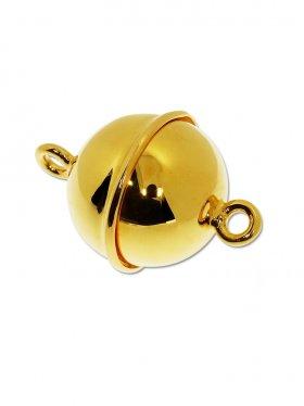 Magnetverschluss Kugel m. Rand, 925 vergoldet glänzend, ø 14 - VE 1 St.