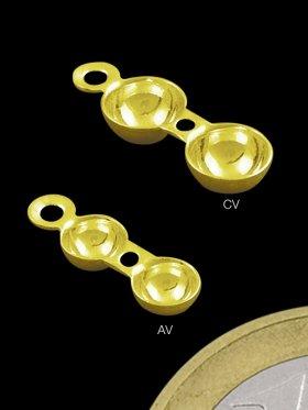 Klapp-Kapsel mit Fadenloch und Öse, 925 Silber vergoldet