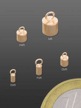Ringhülsen, verschiedene Größen, Silber rose-vergoldet, VE 6 St. - ø 3 mm, innen ø 2,2 mm