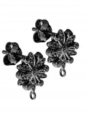 Ohrstecker Blume, 12 mm, Öse geschlossen, VE 2 Paar