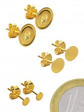 Ohrstecker mit Platte, vergoldet ø 3,5 mm (3 Paare)
