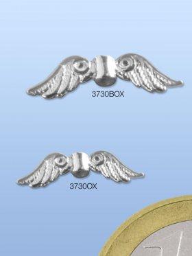 Engelsflügel, Element mit Loch, 925 Silber oxidiert