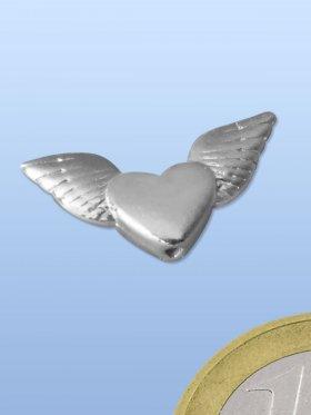 Engelsflügel mit Herz, Element mit Loch, 925 oxidiert