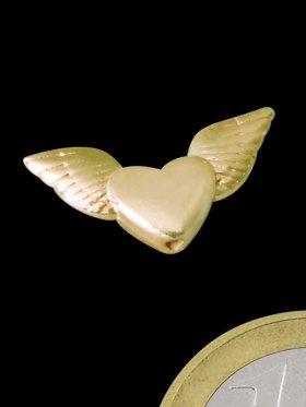 Engelsflügel mit Herz, Element mit Loch, 925 vergoldet