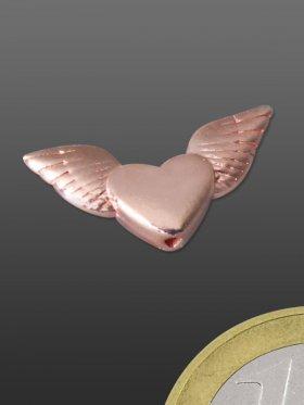 Engelsflügel mit Herz, Element mit Loch, 925 rosévergoldet