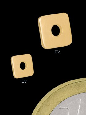 Scheibe flach quadratisch 4 / 4 mm, 925 vergoldet