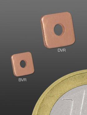 Scheibe flach, quadratisch 4 / 4 mm, 925 rosévergoldet