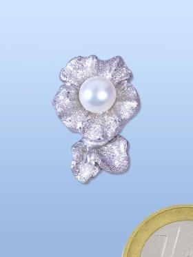 Wechselclip Blume mit Süßwasserperle magnetisch, rhod. diamantiert