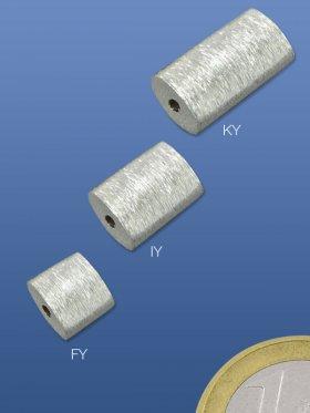 Superlight - Zylinder flach, 8 / 8 mm, 925 Silber, gebürstet