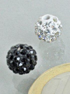 Strass-Keramik-Kugel gebohrt, verschiedene Farben, ø 8 - VE 10 St. - Schwarz