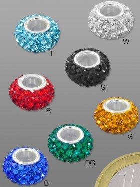 Strass-Keramik-Rondell, verschiedene Farben