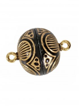 Magnetverschluss ø 14 mm, Kunststoff mit Gravur, gold/schwarz, 5 St.