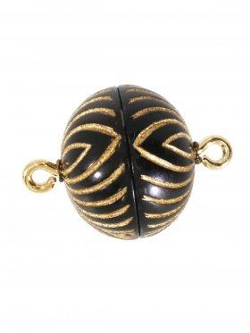 Magnetverschluss ø 14 mm, Kunststoff mit Rillengravur, gold/schwarz oder silber/schwarz, 5 St.