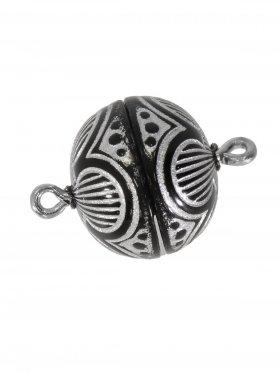 Magnetverschluss ø 14 mm, Kunststoff mit Gravur, gold/schwarz oder silber/schwarz, 5 St.
