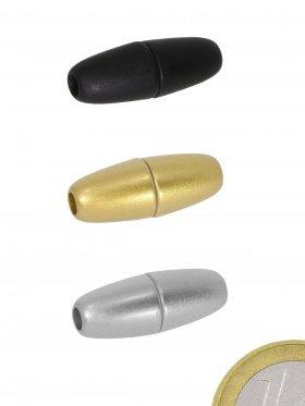 """Magnetverschluss Kunststoff """"Olive"""" ø 8 / L 22 mm für Band ø 3 mm in verschiedenen Farben, 3 St."""