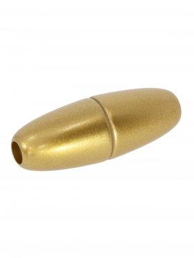 """Magnetverschluss Kunststoff """"Olive"""" für Band ø 4 mm, gold matt, 3 St."""