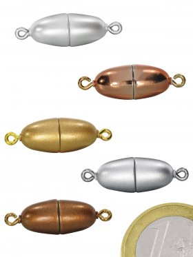 Magnetverschluss Kunststoff mit Öse, Olive mittel (L 24), VE 5 St.