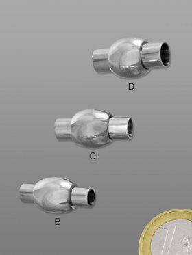 Magnetverschluss 01-3 Edelstahl, für Bänder ø 3, 4, 5, VE 5 St. - für ø 3 mm Band