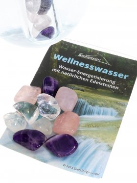 Trinkmischung für das Reagenzglas, Stabilität und Wohlbefinden (Grund-Mischung): Amethyst, Bergkristall, Rosenquarz