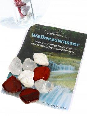 Trinkmischung für das Reagenzglas, Bewusstheit und Balance: Bergkristall, Jaspis rot, Magnesit