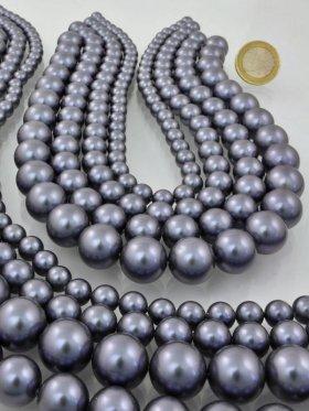 Muschelkernperle metallic grau, verschiedene Größen, Strang 40 cm - ø 6 mm
