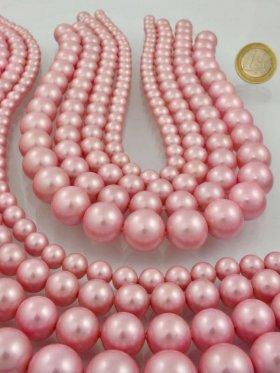 Muschelkernperle pink, verschiedene Größen, Strang 40 cm - ø 12 mm