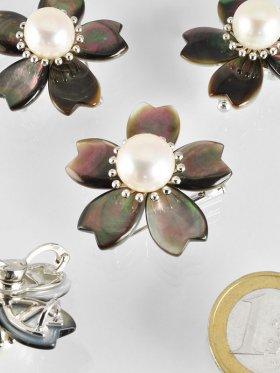 Perlmutt Anhänger/Brosche mit Perle und Silber, Flora Collection
