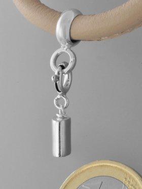 Charm mit Silberrohr flach, L. ca. 2,1 cm mit Federring