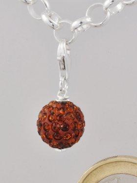 Charm mit Strass-Keramik-Perle orange, L. ca. 2,5 cm
