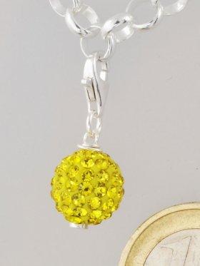 Charm mit Strass-Keramik-Perle gelb, L. ca. 2,5 cm